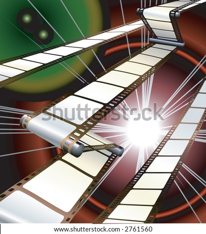 film inside a camera or projector with dynamic background. Raster version