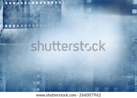 Film negative frames on blue background