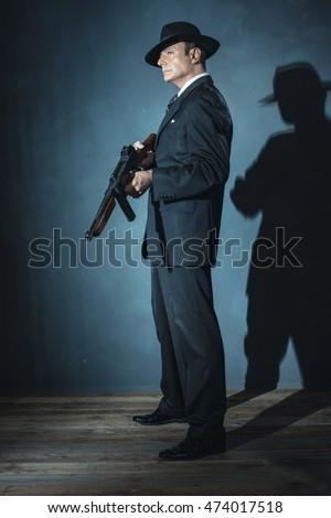 film noir gangster shooting...