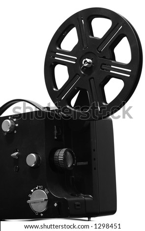 Film projector. Film reel on retro film projector.