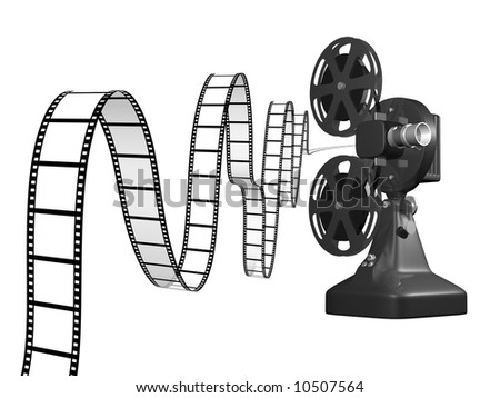 film projector with film coming out 3d render on white