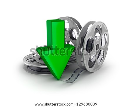 Film reel and arrow. Download icon.