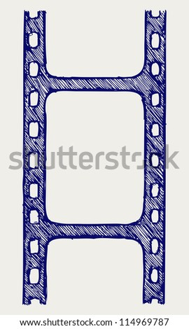 Film reel. Doodle style. Raster version - stock photo