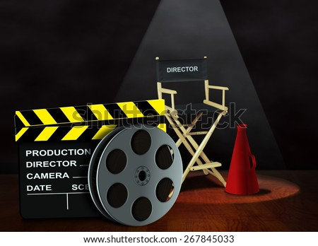 Film reel with clapper board and director chair