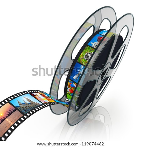 Film reel with filmstrip with colorful pictures isolated on white background with reflection effect