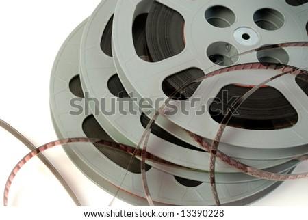 Film reels close-up - stock photo