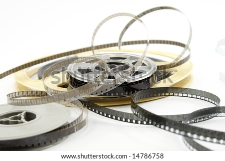 Film reels isolated on white background - stock photo