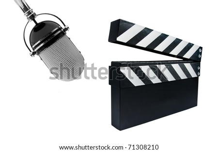 Film Slate and microphone isolated on a white background
