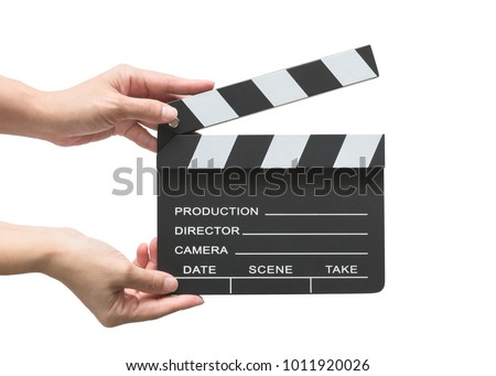 Film slate board cinema act clapperboard on woman's hand with take, action, scence blank copyspace isolated on white background (clipping path) for cinema movie production and video camera director #1011920026