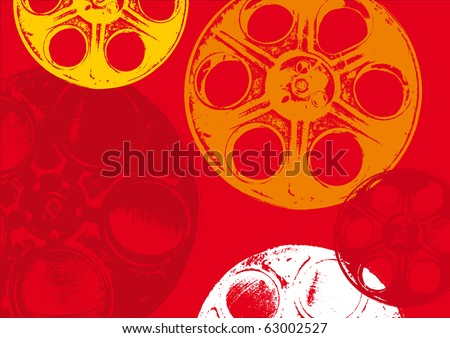 Film spools in red background