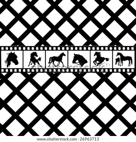 Film Strip background of graphic horses