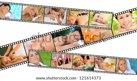 Film strip concept of young beautiful women relaxing at a health spa whilst having massages, hot stone treatments and manicures - stock photo