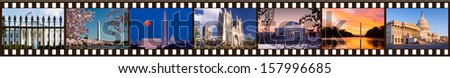 Film strip of 35mm format showing multiple Washington DC sights and monuments White House, Congress, Cherry Blossoms, cathedral, Jefferson and Lincoln Memorials