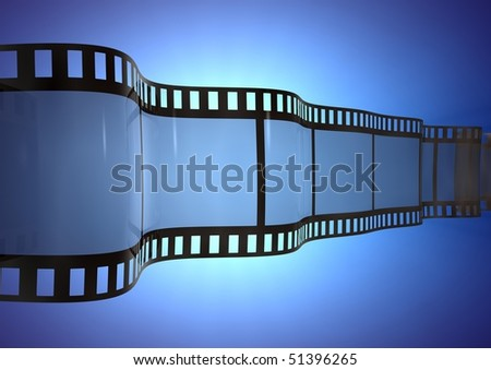 film strip over a blue background
