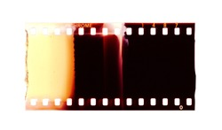 Film strip template, color 135 type (35mm) positive (slide) isolated on white background with work path.