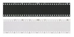 Film strip template, empty developed black and white 135 type (35mm) in negative and positive isolated on white background with work path.