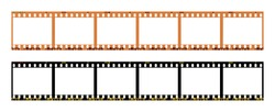 film strip template with frames, empty color 135 type (35mm) in negative and positive isolated on white background with work path.