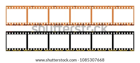 film strip template with frames, empty color 135 type (35mm) in negative and positive isolated on white background with work path. #1085307668