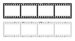 Film strip template with frames, empty developed black and white 135 type (35mm) in negative and positive isolated on white background with work path.