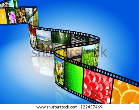 Film strip with colorful images on blue background