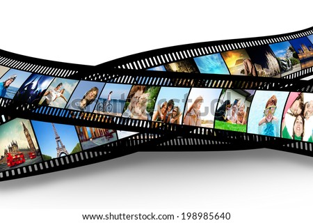 Film strip with colorful vibrant photographs on white background Various themes All pictures used are mine