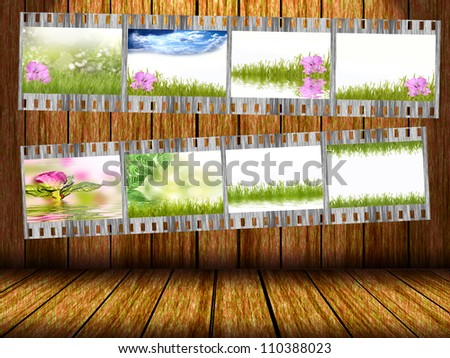 Film strip with different photos of nature