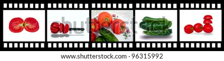 film strip with fresh and tasty vegetables