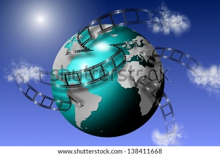 Film strips going all around earth globe with blue sky in the background / Global multimedia
