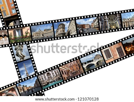 Film strips with travel photos. Rome, Italy, Europe. All photos taken by me, available also separately. - stock photo