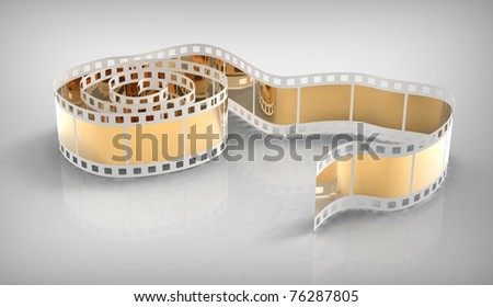 Film with gold frame on a grey reflecting background