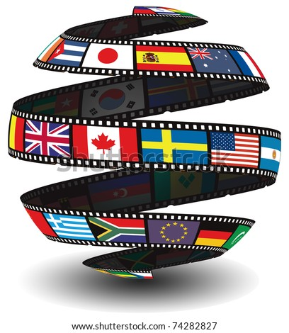 Films strip containing flags in the shape of a globe/sphere
