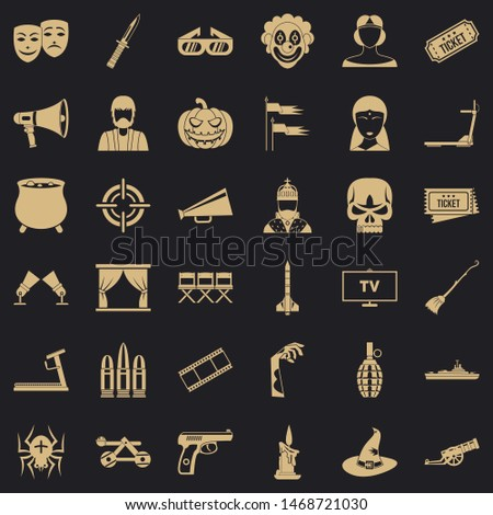Filmstrip icons set. Simple style of 36 filmstrip icons for web for any design