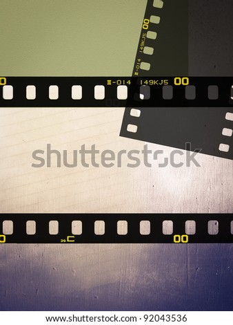 Filmstrip on paper and wood texture