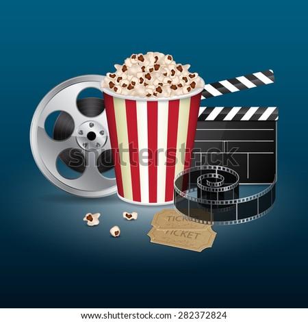 Filmstrip, reel, film clapper with vintage ticket and popcorn on blue background. Cinema concept