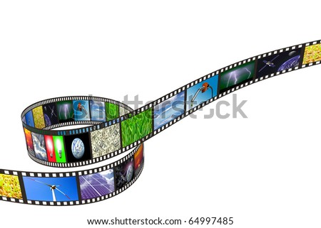 Filmstrip with technology, energy and environment images on white background