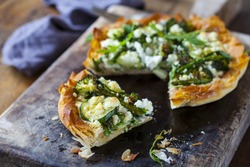 Filo pastry tart with asparagus, broccoli courgette and feta cheese