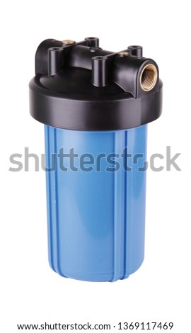 Filter flask blue, plastic water purification. Isolated white background. To improve water quality sources. Main filters protect pipes plumbing, household damage mechanical particles contained tap. #1369117469