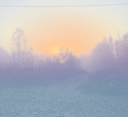 Filtered photo of sin rise in the autumn forest, road view