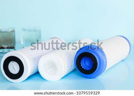 Filters for drinking water, house water clarification. Copy space #1079559329