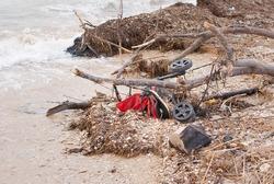 Filthy beach on the Mediterranean Sea in Israel, plastic boths, stroller, dead fish