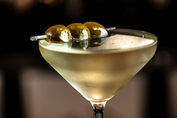 Filthy Dirty Martini with Blue Cheese-Stuffed Olives skewer. Excellent cocktail.