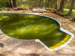 Filthy swimming pool with green water
