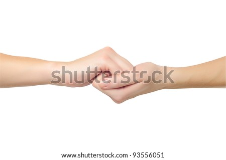 fimale hands in shape of lock holding each other isolated on white background