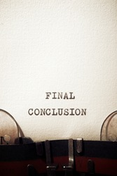 Final conclusion phrase written with a typewriter.