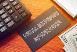 Final expense insurance is shown on the conceprual business photo