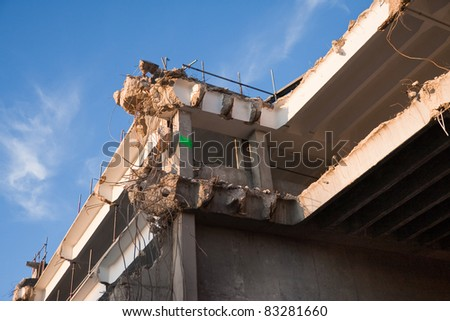 Final stages of demolition during a rebuilding programme in the UK