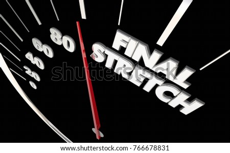 Final Stretch Speedometer Almost There Done 3d Illustration ストックフォト ©