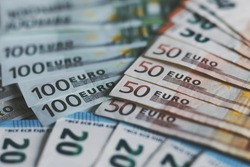 finance and economy concept - euro banknotes