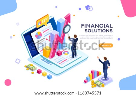 Finance and engineering graph of economics. Statistic and sales manager for financial management concept. Economic infographic banner. Flat isometric concept with characters  illustration.