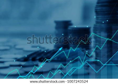 Finance and Investment concept.Money management and Financial chart.Double exposure investment